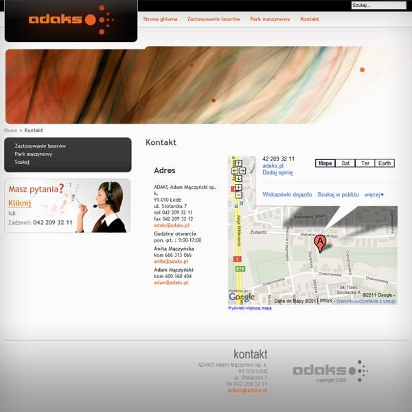 Adaks projekt strony internetowej